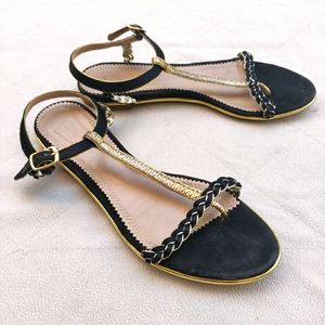 Chloe Black and Gold Leather & Suede Flat Sandals